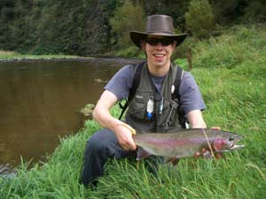 Fly Fishing sucess, nice rainbow from the Hawkes Bay