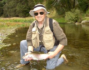 Rod with a Hawkes Bay Rainbow